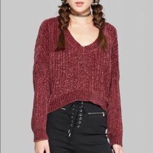 Wild Sable • Chenille V-Neck Crop Sweater